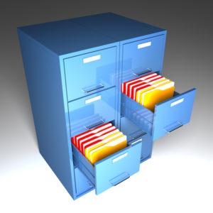 file cabinet 3d  and colorful  folder closeup image