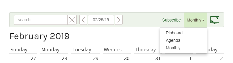To change how the calendar displays on your computer,  click  the button on the right side.   Choose either Monthly, Agenda or Pinboard view.